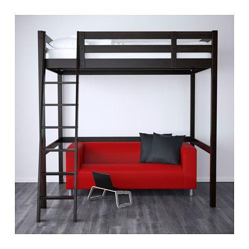 Stor estructura cama alta negro camas altas ikea y camas for Estructura de cama alta ikea