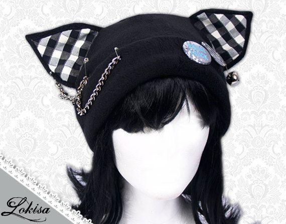 Photo of Cat Kitty Fleece Hat  Anime Cosplay Punk JRock  (Checkered Ears)