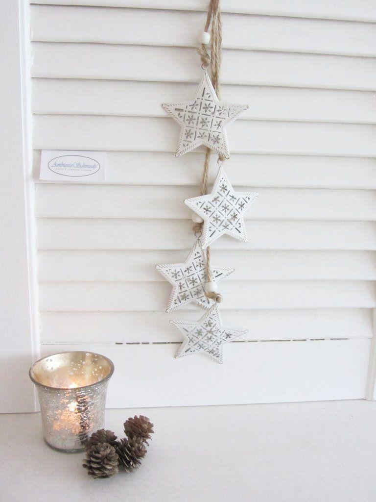Kranz STERNE zum hängen weiß Holz Fenster Deko 15 cm Weihnachten Shabby Skandi