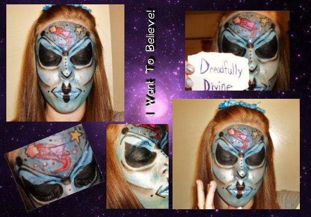 I created this awesome Alien look using just eye shadows and eyeliners for a contest and I WON! This is one of my favorites!