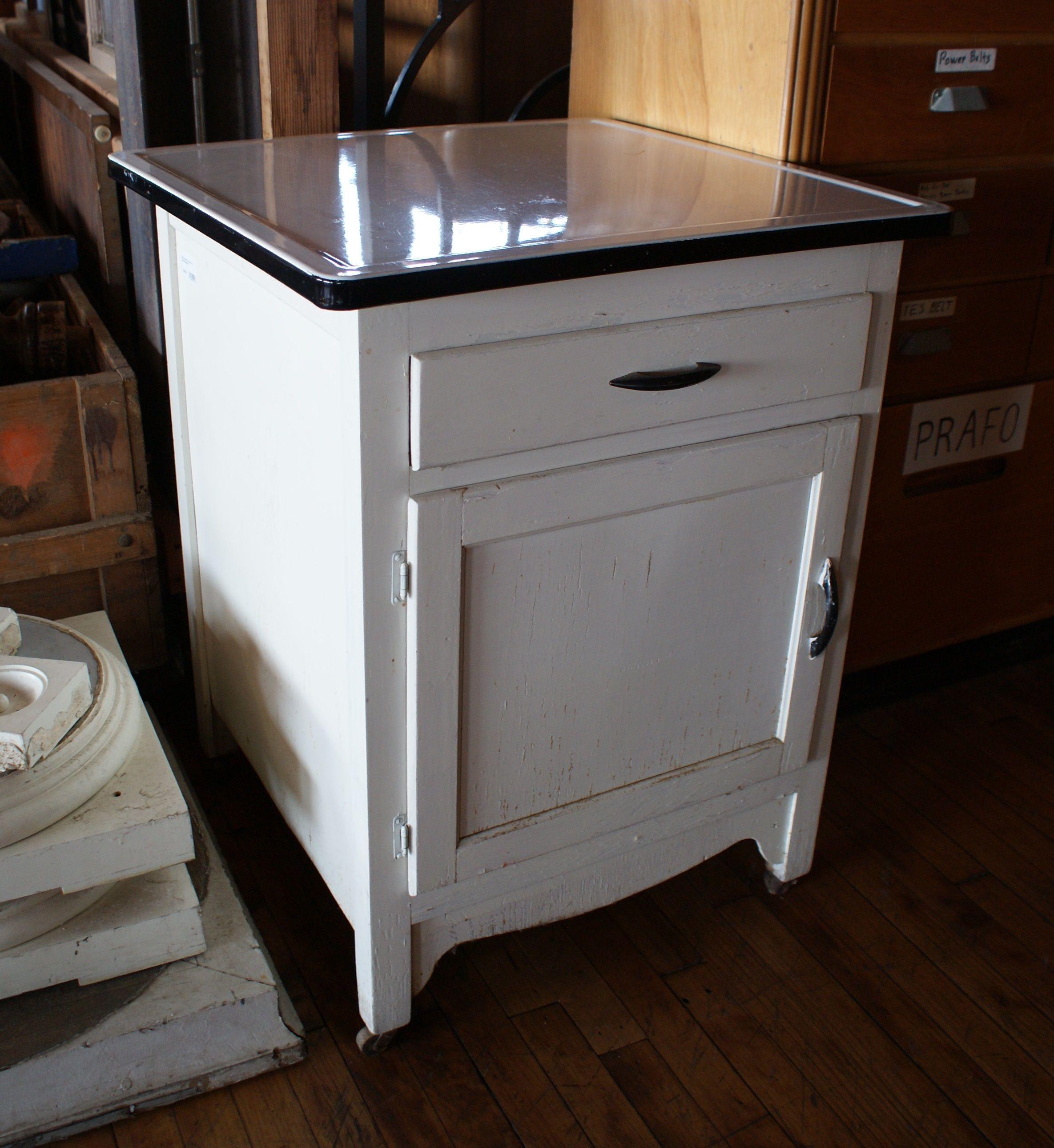 White Enamel Top Cabinet On Casters Vintage Kitchen Cabinet Medical Supply Cabinet