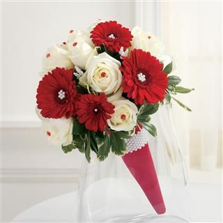 Red Gerbera Daisies And White Roses Bridal Bouquet Flower Bouquet Wedding White Rose Wedding Bouquet Bridal Bouquet