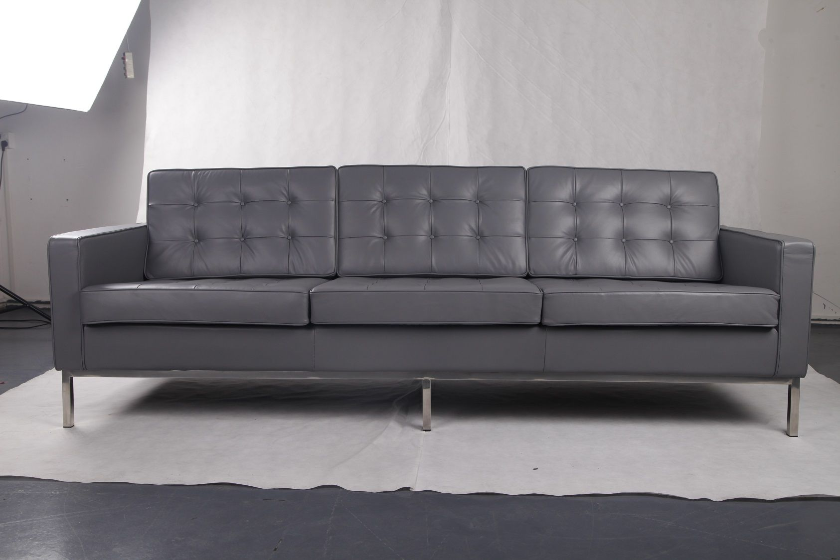 New Grey Full Grain Leather Florence Knoll Style 3 Seater Sofa