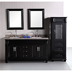 60 double sink bathroom vanity. Design Element Hudson 60 Inch Double Sink Bathroom Vanity Set With Linen  Tower Accessory Cabinet Side Brown