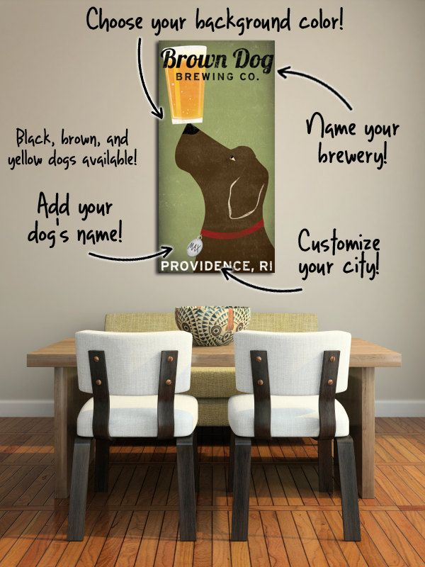 a377bb5dcf0f Gift idea for Matt & Abby: BROWN DOG Labrador Brewing Company Gallery  Wrapped Wall Art Ready-To-Hang stretched wood frame canvas 12x24x1.5 Beer.