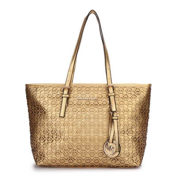 Michael Kors Perforated Metallic Logo Large Gold Totes #AllAccessKors
