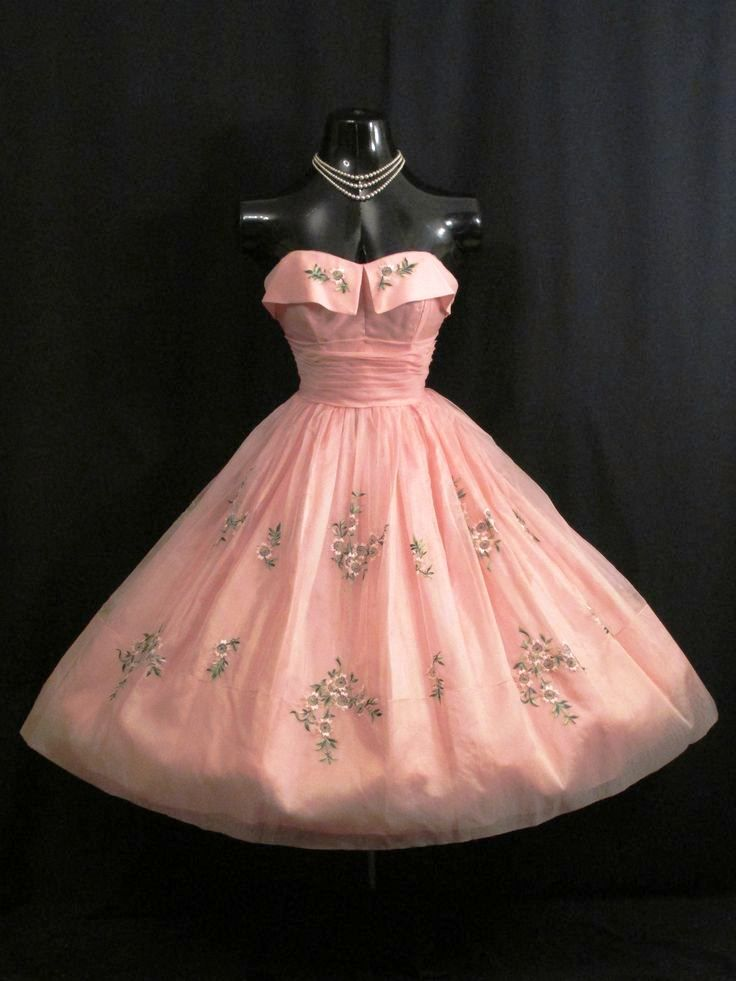 1950s Vintage Strapless Pink Embroidered Silk Organza Prom Party ...