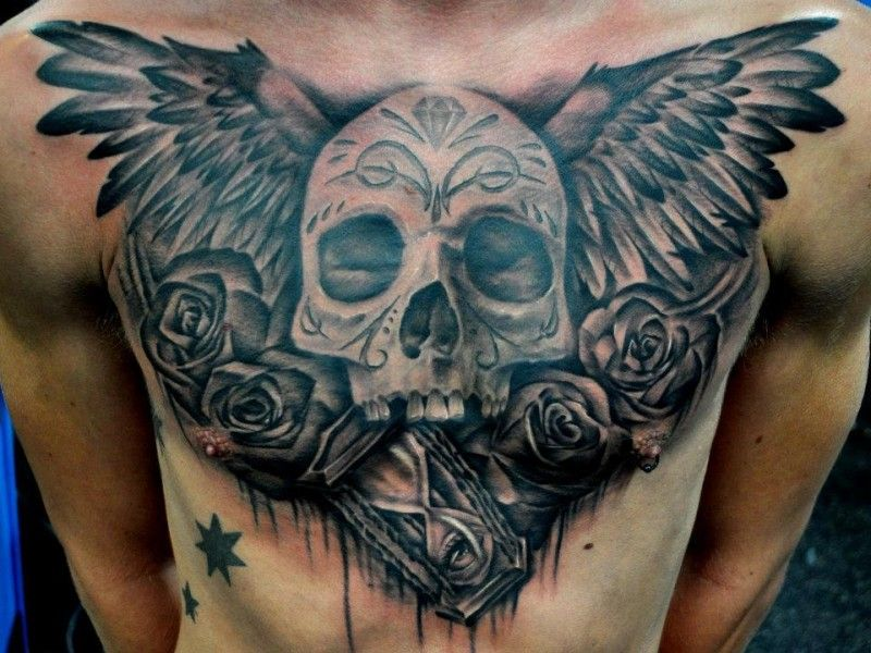 Black Grey Winged Skull With Roses And Clock Chest Tattoo Sleeve