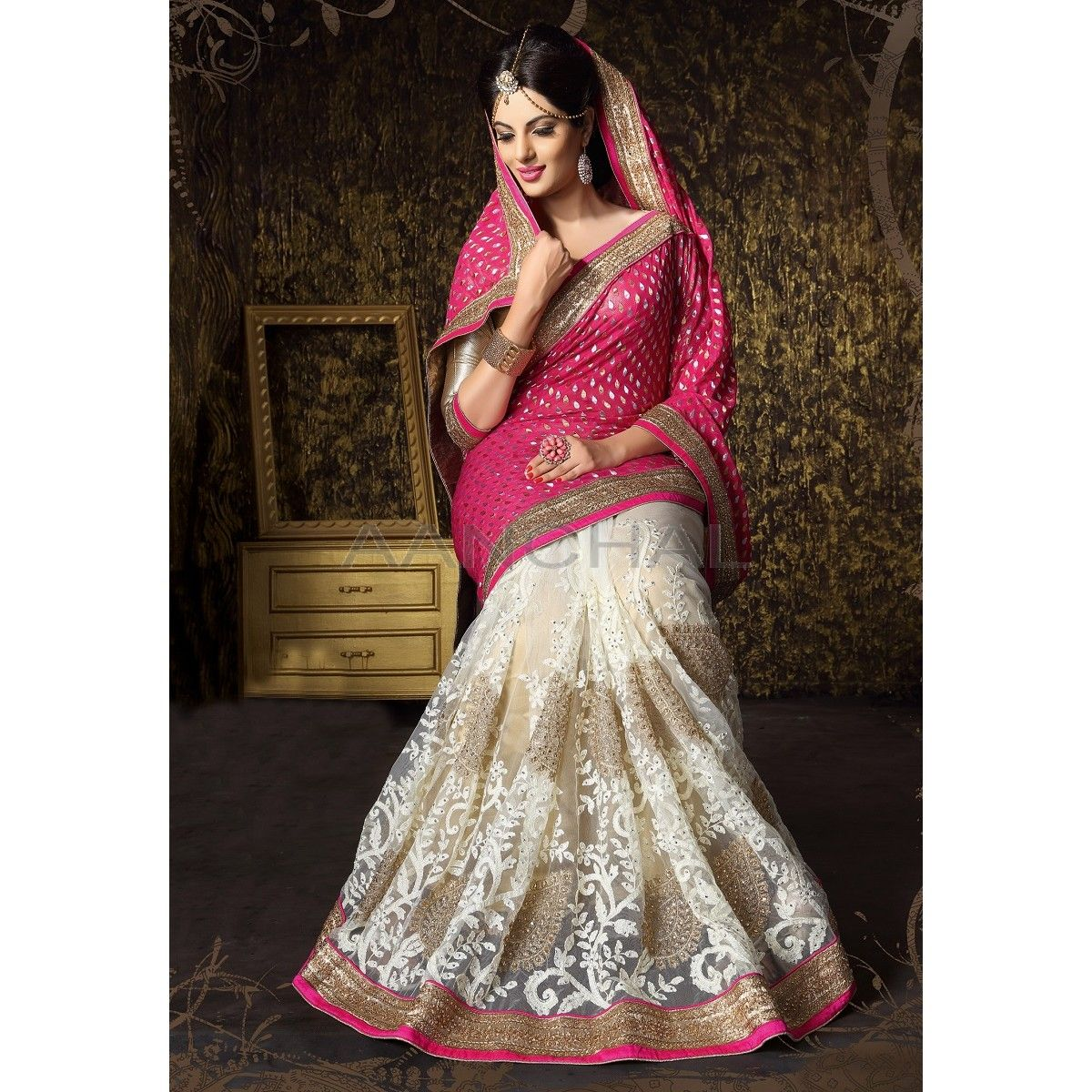 Wedding White Sarees Online: Fuchsia And Off White Color #Saree With #Blouse