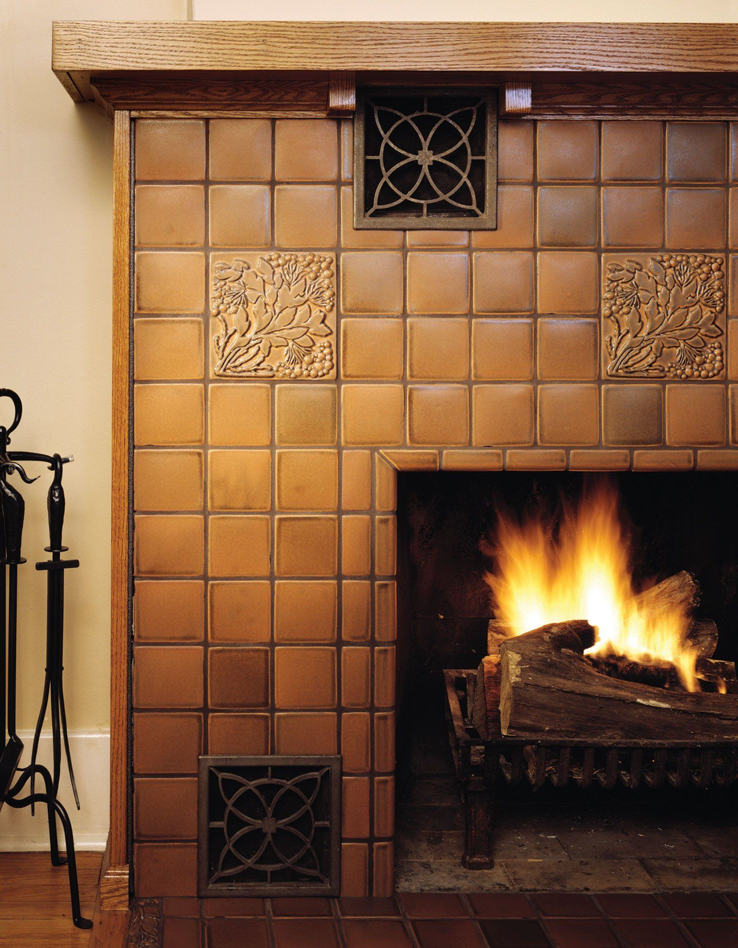 leaves and berries sepia fireplace craftsmen pinterest design