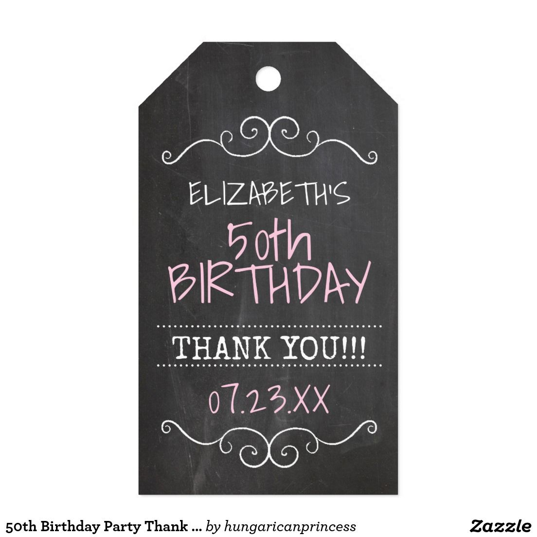 50th Birthday Party Thank You Guest Favor Gift Tags