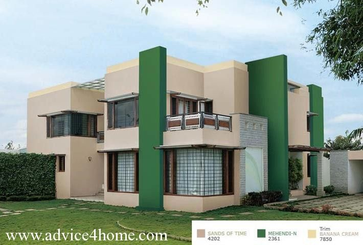 Dull Coloured Walls With Bold Coloured Columns Are The Great Combination For Exterior Exterior Color Combinations Asian Paints Colours Color Combinations Paint