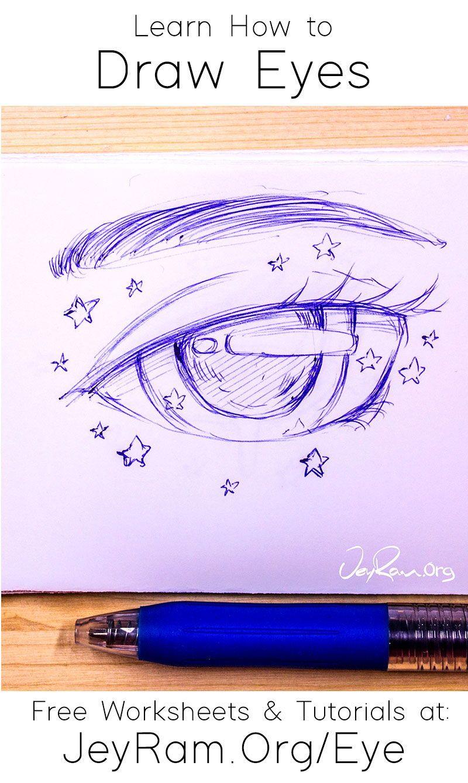 How To Draw Eyes Free Worksheet Tutorial In 2020 Eye Drawing Cute Little Drawings Easy Realistic Drawings