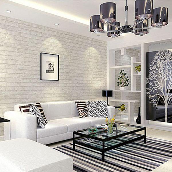 White Brick Wallpaper Living Room Ideas