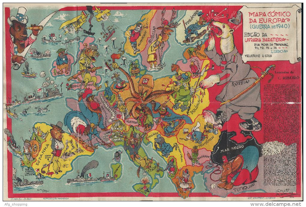 Comic map of Europe from Lisbon 1940 Satirical Maps