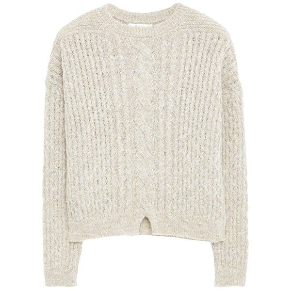 Mango Chunky Knit Jumper, Pastel Grey (40 TND) ❤ liked on Polyvore featuring tops, sweaters, clothing - ls tops, shirts, long sleeve jumper, grey shirt, pastel shirts, chunky knit sweater and long sleeve shirts