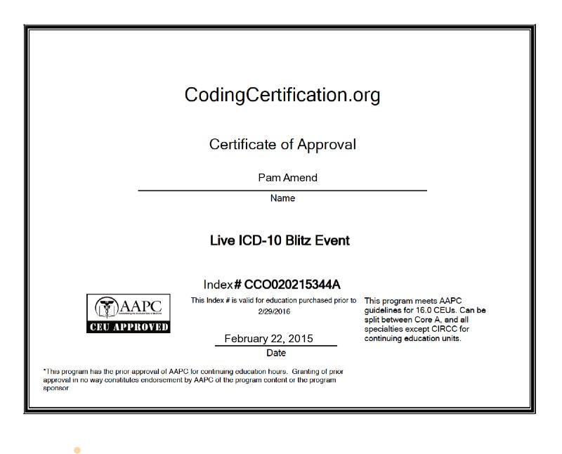 Ceu Certificate For Live 2 Day Icd 10 Blitz Pam Amends Certificate