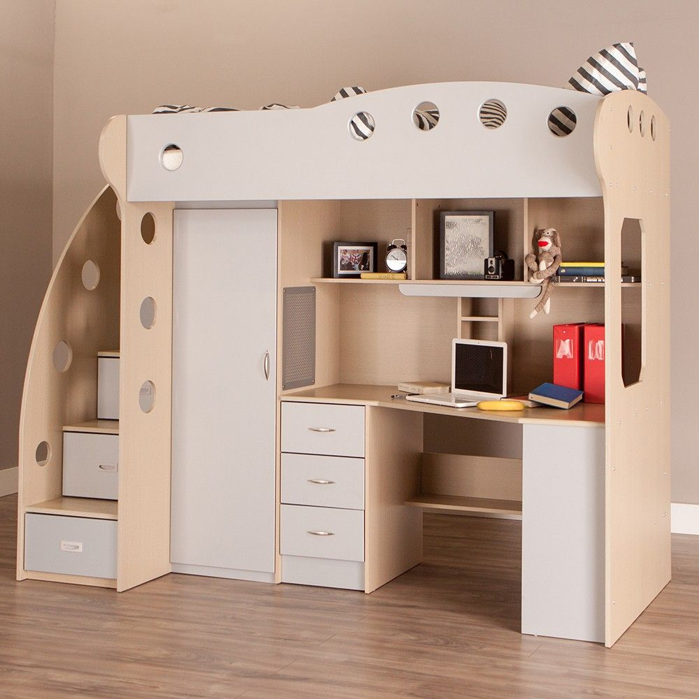 NIKA Loft Bed (Maple + Grey) (With images) Loft bed