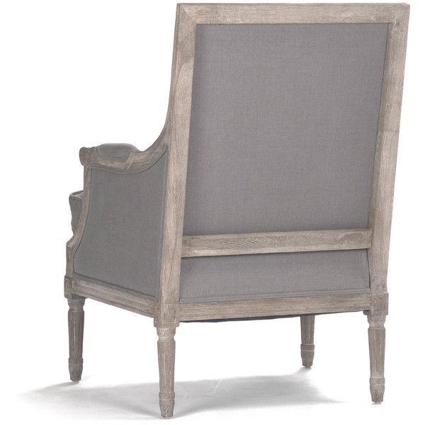 Amazing St. Germain French Country Limed Oak Louis XVI Grey Linen Club Chair ($978)