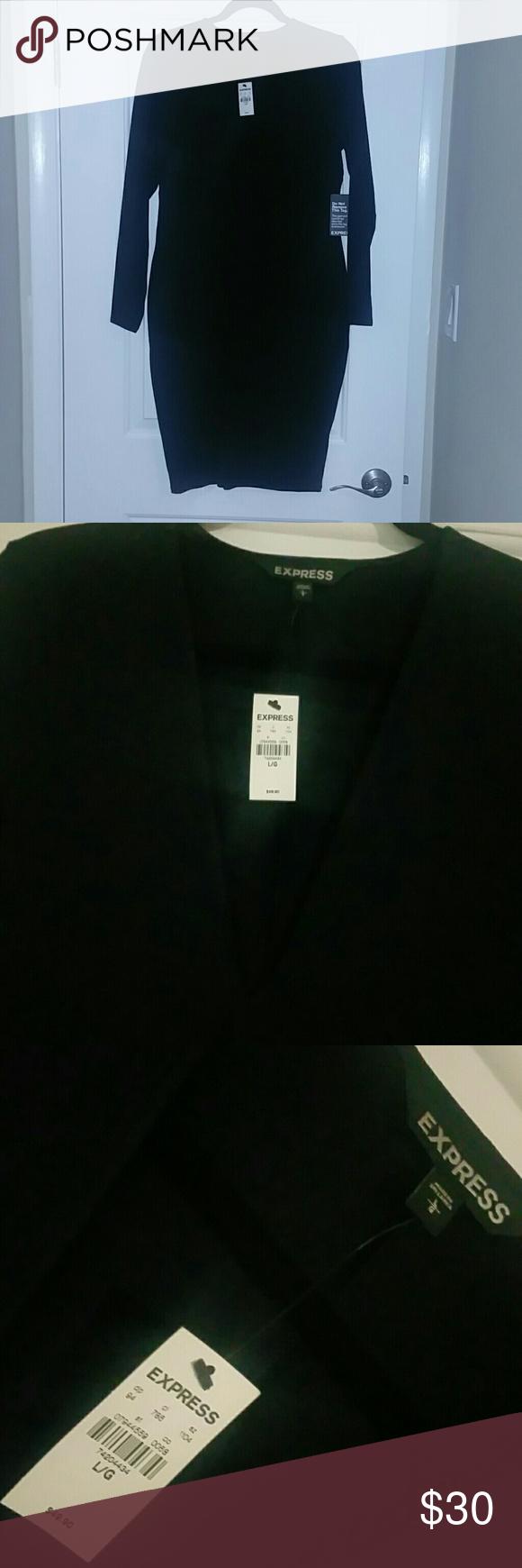 Black deep v stretch dress Black deep v stretch dress Express Dresses Midi