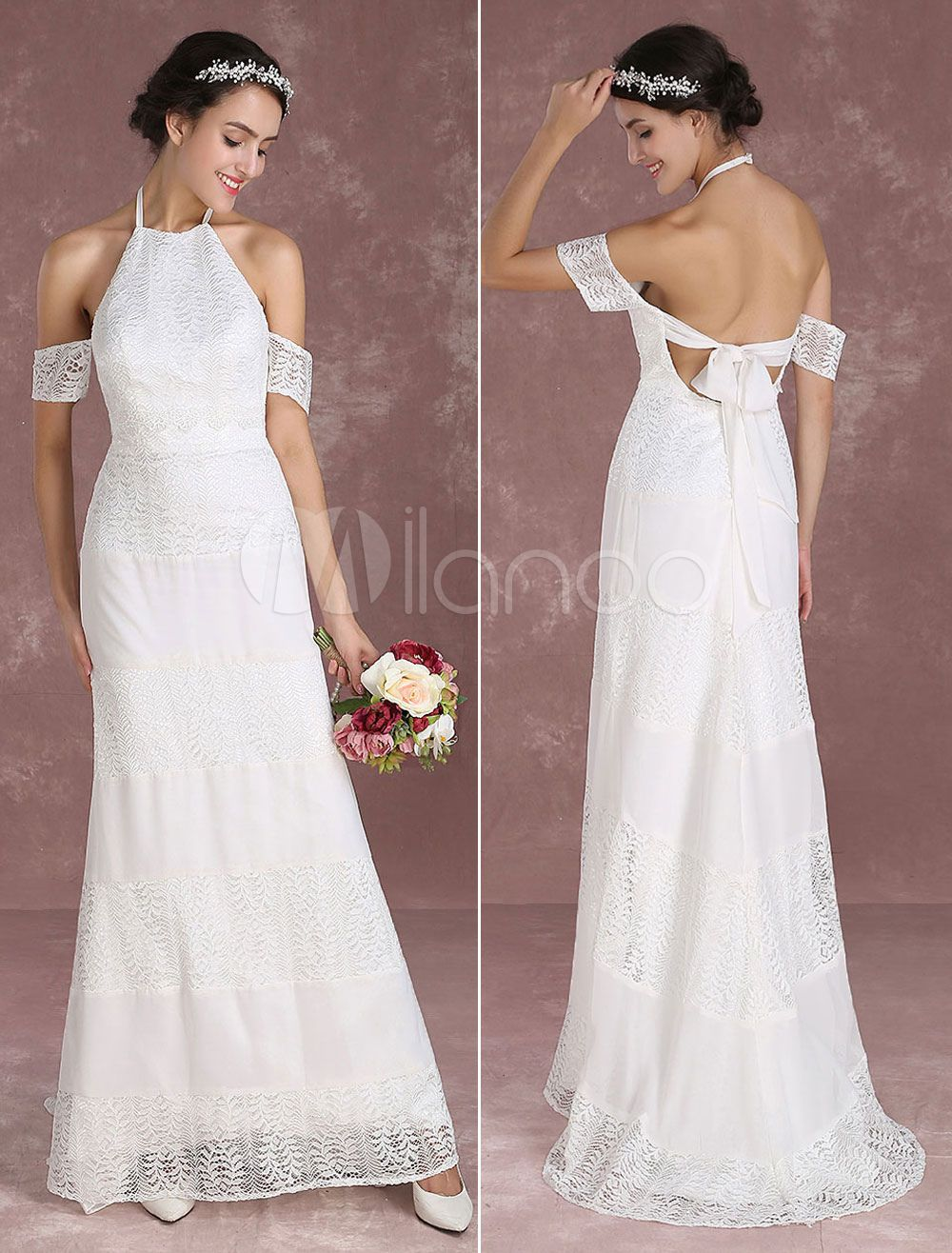 Summer wedding dresses boho lace mermaid bridal gown halter off