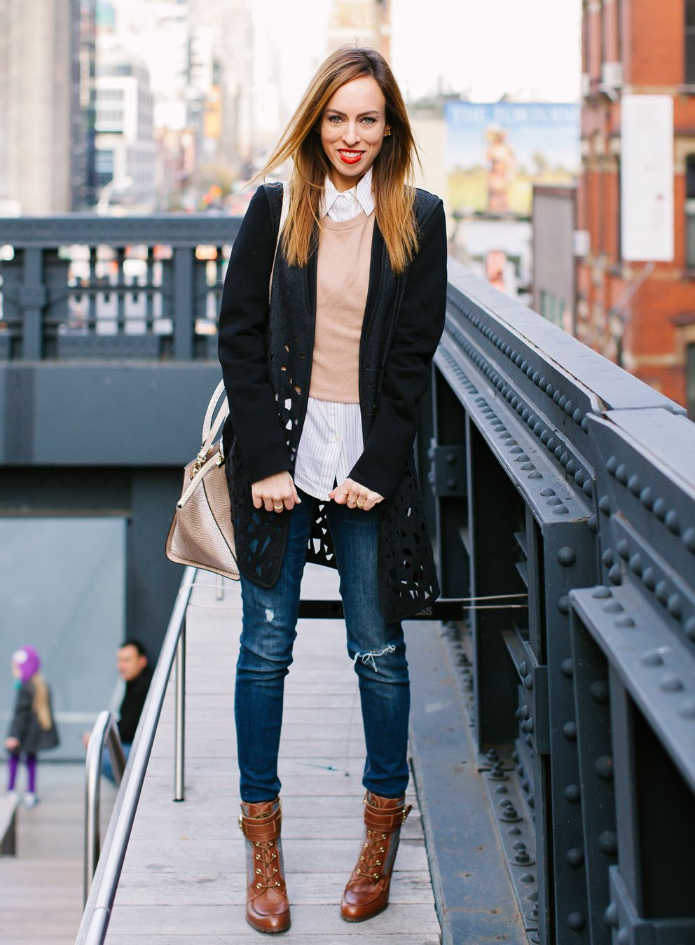 winter #outfits down jacket, white undershirt, distressed