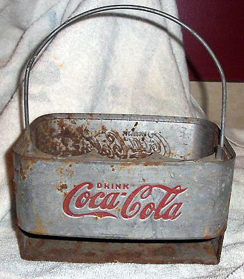 Highly Collectable Vintage Rare Coca Cola Coke Metal Bottle Carrier