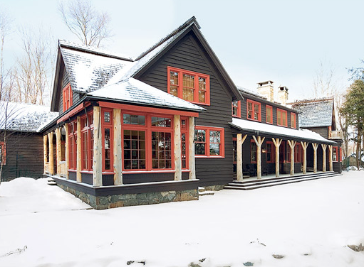A Mountain Lake Country House Long Barn Make For A Magnificent Winter Retreat Tree Trunks