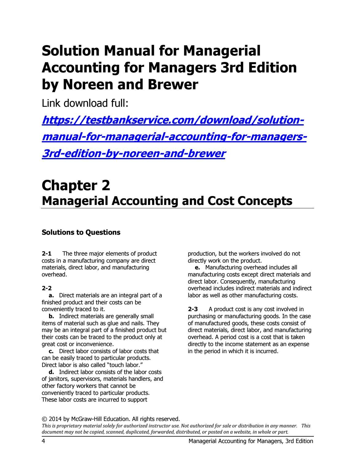 Solution manual for managerial accounting for managers 3rd edition by  noreen and brewer