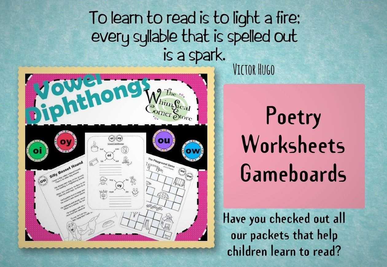 Vowel Diphthongs Original Poems Worksheets And Game