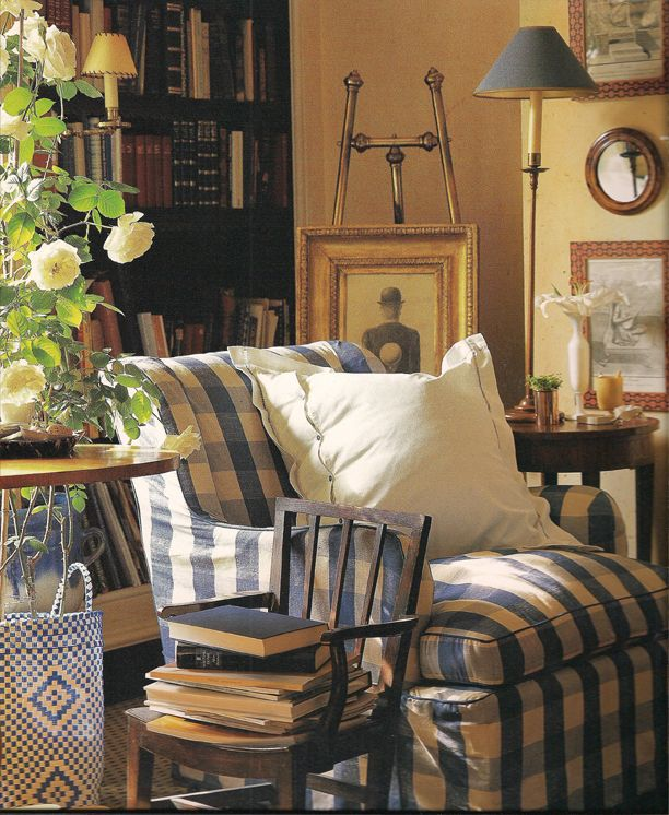 blue checks and that little chair holding the books.  Cul de Sac