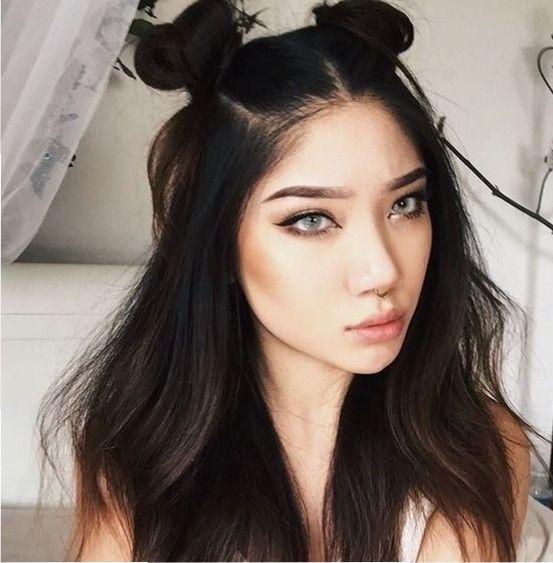 Pin By Blackeramy On Catwalk Female Hair Styles Half Bun Hairstyles Straight Hairstyles