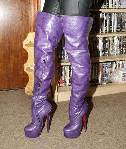 Thigh high purple boots | These Boots Are Made For Walkin ...