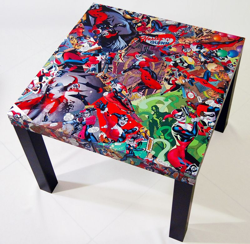 Comic fusion decor harley quinn comic collage table for Harley quinn bedroom designs
