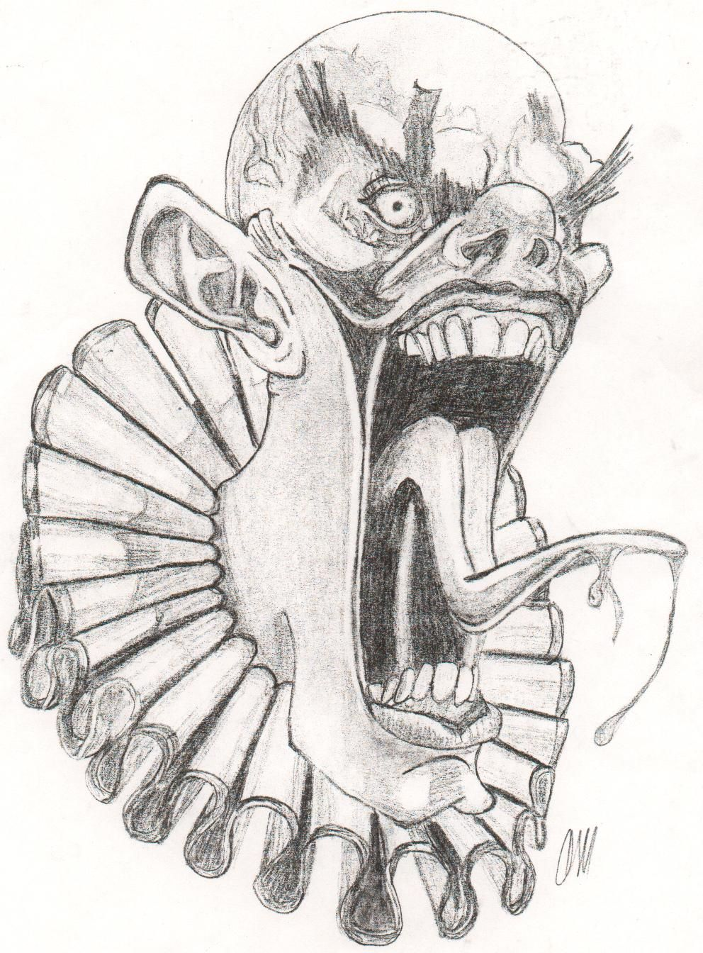 Pencil drawings of evil clowns 2017