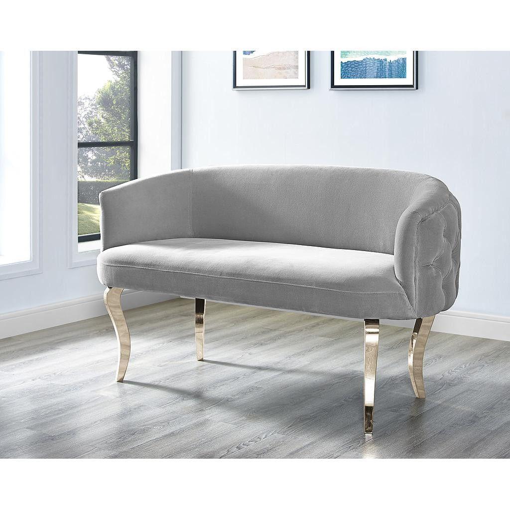 Adina Grey Velvet Loveseat With Gold Legs Love Seat Velvet Loveseat Furniture