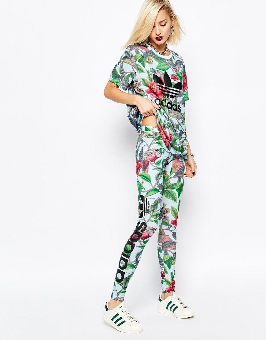 adidas Originals Florera Leaf Print Leggings With Side Logo