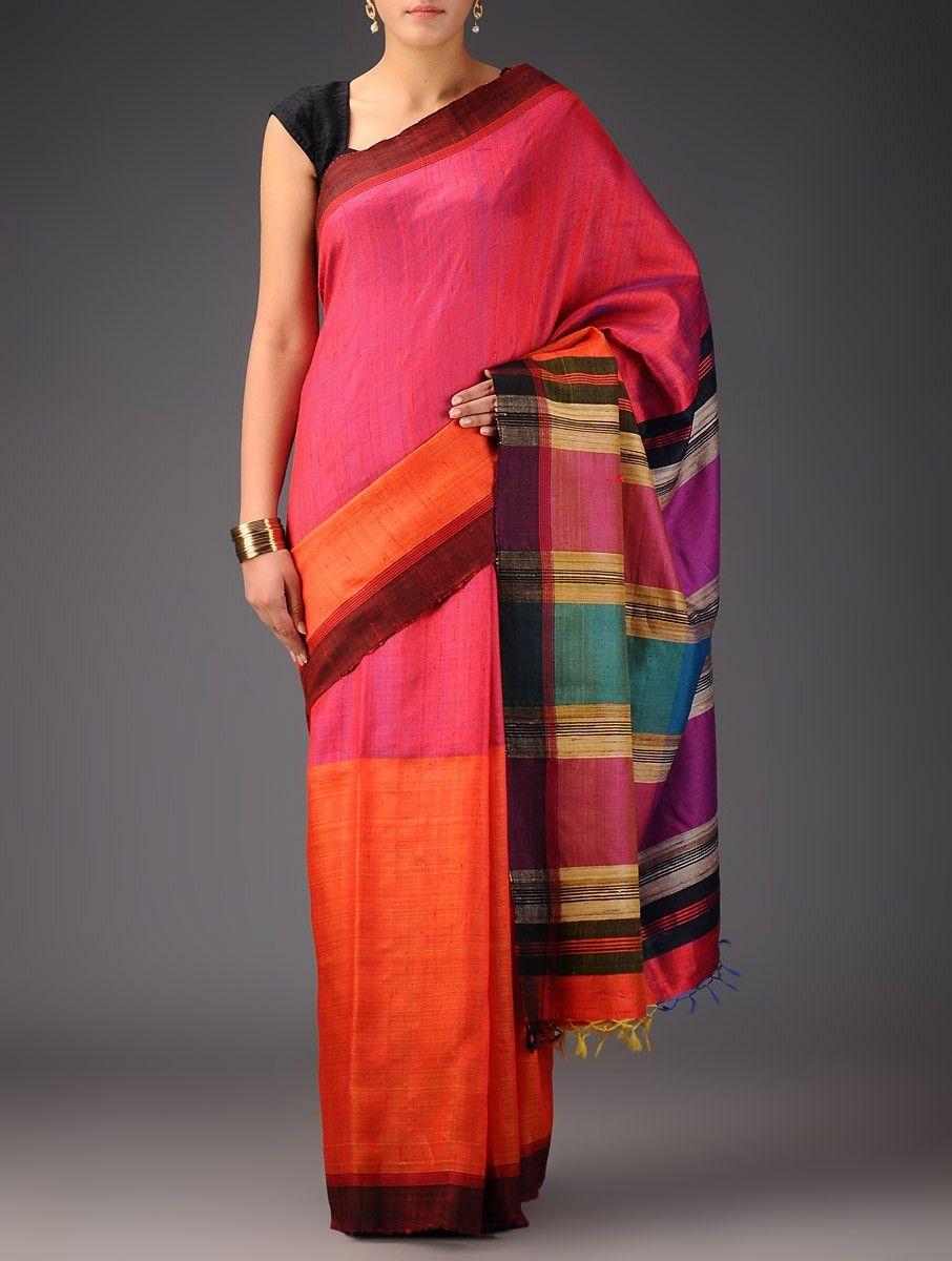 Maroon silk saree buy orangeredmulticolor tussar dupion silk handwoven saree online