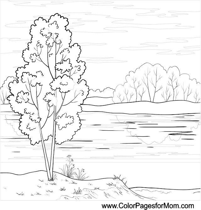 Landscape Coloring Page 26 Colorful Landscape Outline Drawings Outline Pictures