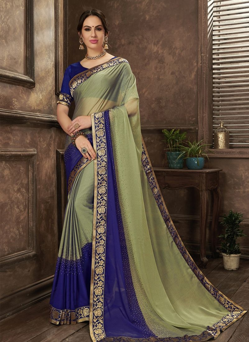 72ca4203192556 Sea Green Chiffon Diamond Work Saree