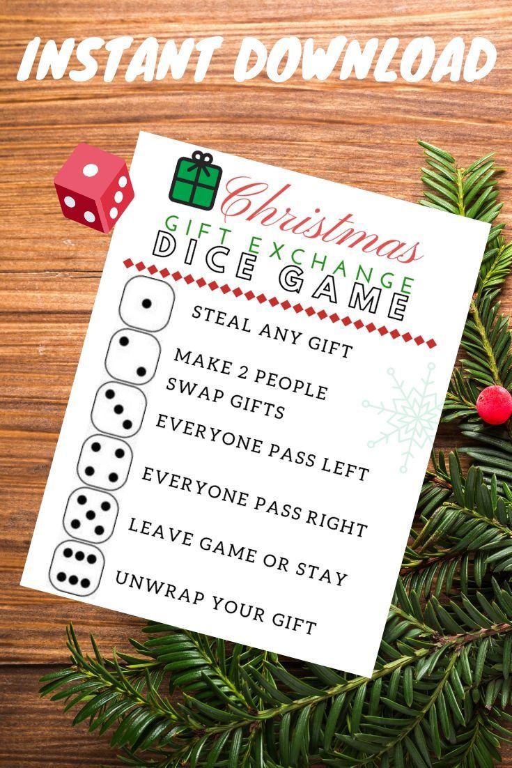 Christmas Gift Exchange Dice Game Printable
