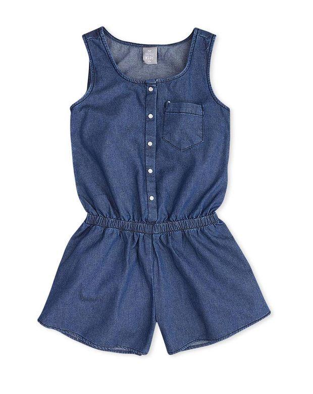 bd222b9de Macaquinho jeans infantil menina com lavação escura hering kids na Hering  Kids