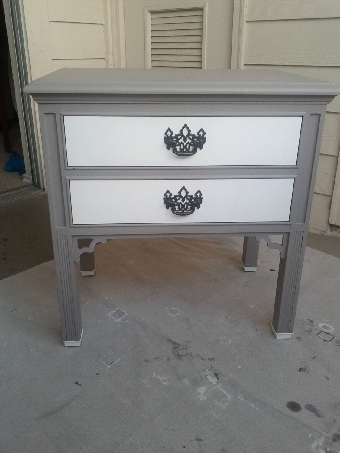 Vintage Nightstands Part - 35: Grey And White Vintage Nightstand. Totally Doing This To My Nightstands!