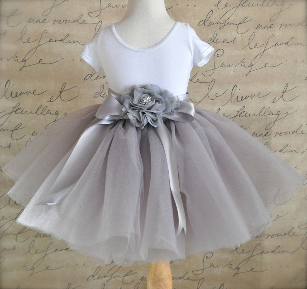Dove Grey Flower Girl Short 8 Layer Tutu With By Tutuschicboutique