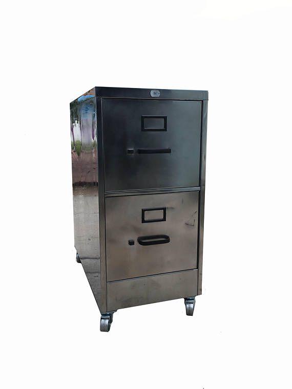 Vintage file cabinet metal brushed and polished steel industrial
