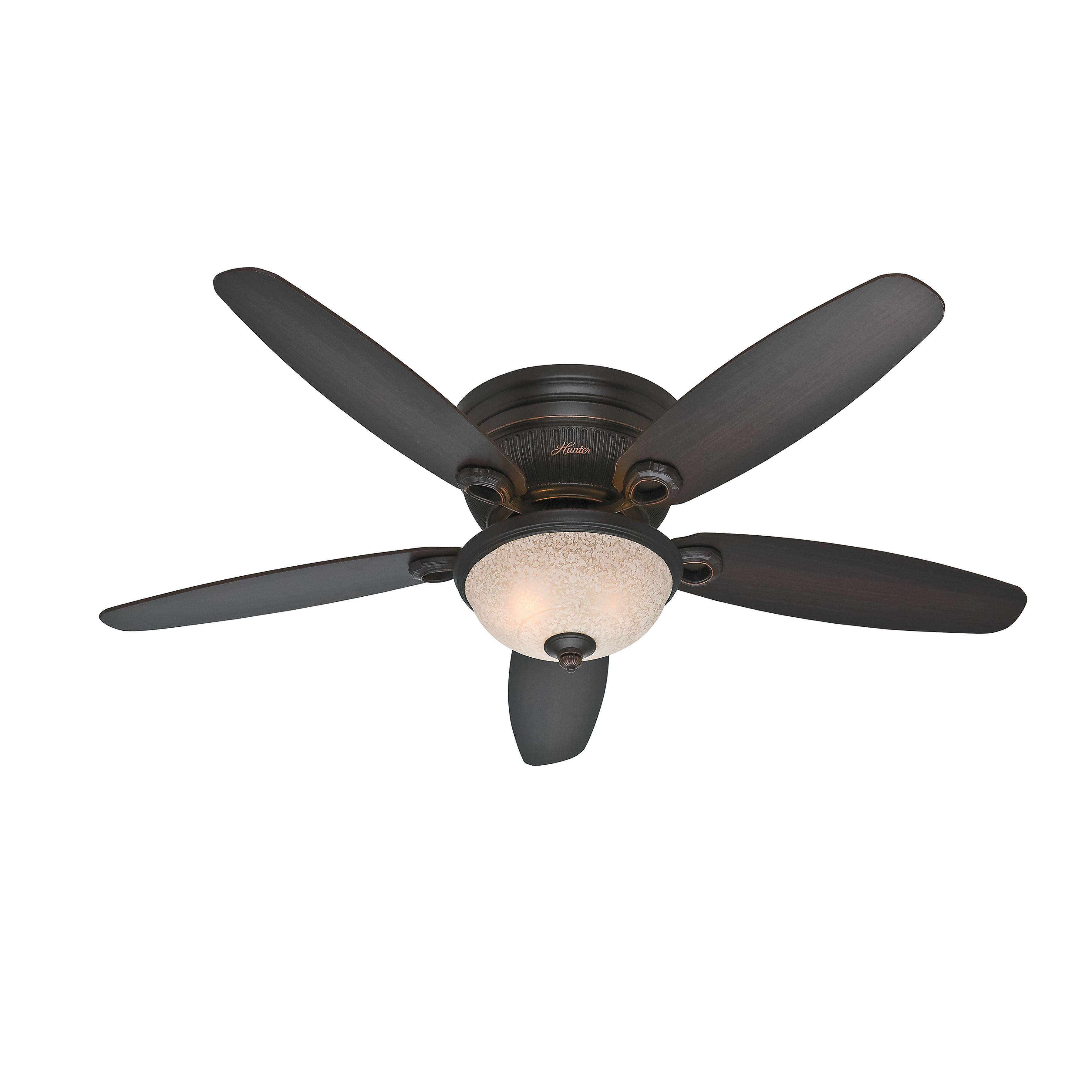 Hunter Fan 52 Hugger Ceiling Fan In Onyx Bengal With A Florence