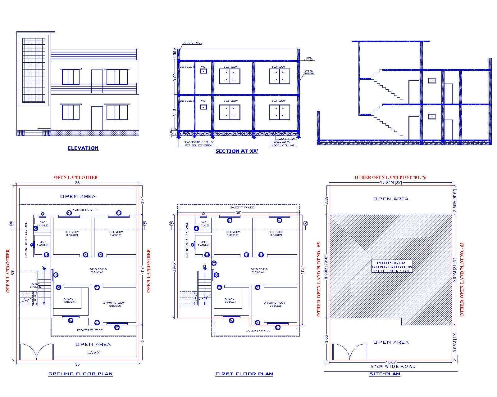 Submission Residential Plan And Elevation Design Dwg File The Architecture Layout Plan Of The Ground Floor P Ground Floor Plan How To Plan Layout Architecture