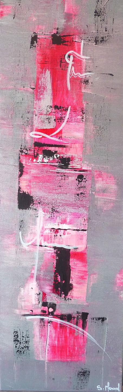 Toile Moderne Coloree Peinture Acrylique Argente Rose Noir