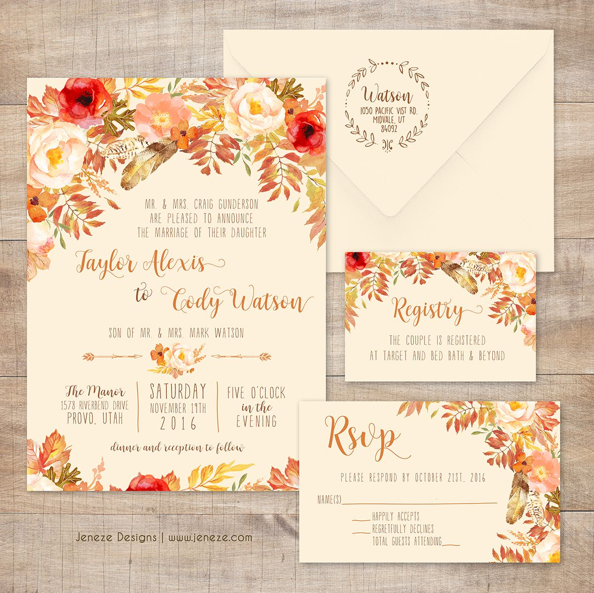 Beautiful fall wedding invitations pretty flowers and fall leaves beautiful fall wedding invitations pretty flowers and fall leaves with flowing fonts and fall colors monicamarmolfo Images