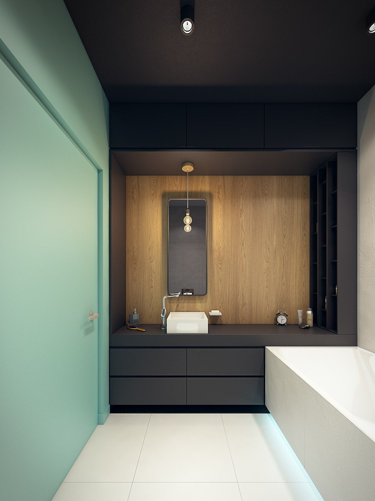 This Contemporary Apartment Pops With Turquoise Accents Bathroom  ~ Aplicaciones De Diseño De Interiores